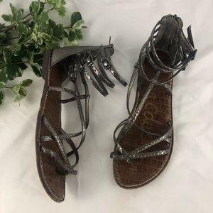 Sam Edelman Pewter Gable Gladiator Sandals